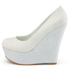White Platform Wedge Heels