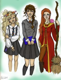 Luna, Hermione, and Ginny ♥ Harry Potter Girls by meabhdeloughry.deviantart.com on @deviantART