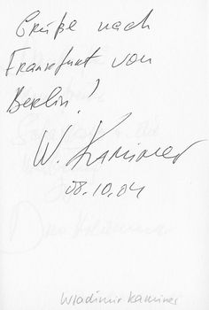 Wladimir Kaminer grüßt von Frankfurt nach Berlin - im Gästebuch vom Blauen Sofa