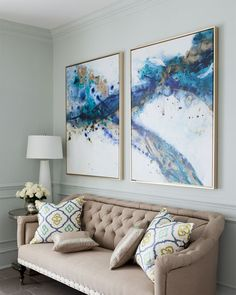 """""""Azure Canyon"""" Giclees 2 Panel Framed Wall Canvas Painting (Diy Art Abstract) - All For Herbs And Plants Metal Tree Wall Art, Framed Wall Art, Wall Art Decor, Large Wall Art, Large Artwork, Wall Art Sets, Painting Inspiration, Diy Art, Canvas Wall Art"""