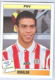Top 50 Football Cards (Mostly Vintage) : #50. 1995 95 Ronaldo. Ronaldo is one of the greatest players of all-time, in fact he is as high as #2 on some experts' lists. He is the winner of three FIFA World Player of the Year awards, two-time World Cup champion and the all-time World Cup highest goal scorer. Here, Ronaldo is pictured on the Dutch club PSV Eindhoven. A year prior to this card's release, Romário had advised a young 18 year-old Ronaldo to start his European career at PSV.