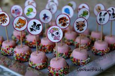 Kids Party Food - Marshmallows & Sprinkle.  This is cute for a Pet Shop Party but it's great for any children's party.  Just substitute picks with your character theme.