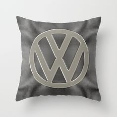 VW Silver Grill Throw Pillow - $20.00 #VW #Volkswagen #CamperVan #Bus #logo #Silver #grill