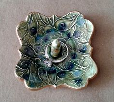 Small Ceramic  Ring Holder peacock  Moss Green with blue 3 inches wide edged in gold