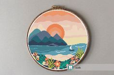 Tropical sunset cross stitch pattern, modern cross stitch pattern, PDF, instant download