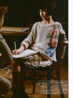 TWIN-SET Girl collection: Long sleeves dress floral embroidery. Magazine: Vogue Bambini 01.03.13