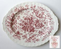 Vintage Tab Handled Oval Platter Transferware Red Floral Chintz Toile Roses Daisies Blue Bells