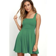Let's Get Together Green Skater Dress ($46) ❤ liked on Polyvore featuring dresses, green, flared dress, knit skater dress, flared skirt dress, knit dress and skater skirt dress