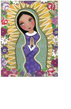 La Virgen Morena Guadalupe Our Lady of Guadalupe mother print wall decor gift present painting love folk art Mixed Media by Evona Catholic Gifts, Catholic Art, Religious Art, Immaculée Conception, Christian Paintings, Mary And Jesus, Holy Mary, Blessed Virgin Mary, Mexican Folk Art