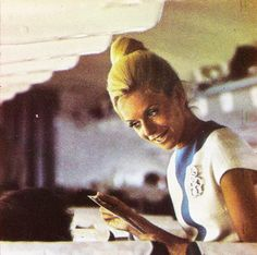 """""""Did you really just ask me where the mile high club meets and will there be food?"""" asked Melinda. Retro Advertising, Retro Ads, Vintage Travel, Vintage Ads, Vintage Airline, Olympic Airlines, Different Airlines, Airline Cabin Crew, Airline Uniforms"""