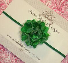 Itty Bitty Green Flower Headband