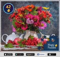 I've just solved this puzzle in the Magic Jigsaw Puzzles app for iPad. Fall Flowers, Pretty Flowers, Ipad, Image Storage, Puzzle Of The Day, App Store Google Play, Jouer, Flower Arrangements, Jigsaw Puzzles