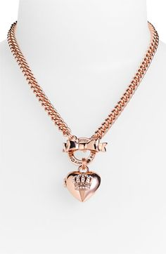 Juicy Couture Crown Icons Heart Locket Necklace in Pink (rose gold) - Lyst Juicy Couture Necklace, Juicy Couture Charms, Juicy Couture Jewelry, Pink Jewelry, Cute Jewelry, Jewelery, Jewelry Accessories, Small Heart Necklace, Heart Locket Necklace