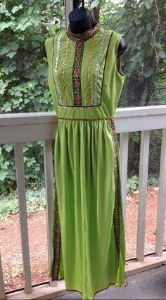 True Vintage Futura Couture Maxi Tunic Dress Boho Lime Green Caftan Resort Wear  #FuturaCoutureNewYork