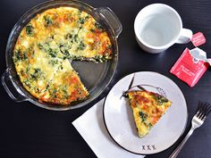 Spinach, mushroom & feta crustless quiche.