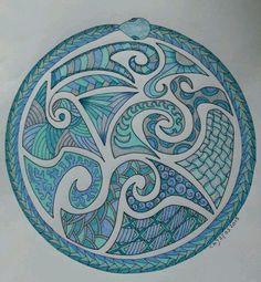 based on maori design Maori Patterns, Doodle Patterns, Zentangle Patterns, Maori Designs, Tribal Tattoo Designs, Rock Crafts, Arts And Crafts, Maori Symbols, Polynesian Art