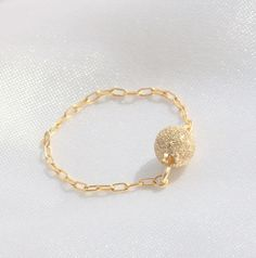 Delicate chain ring - dainty ring,14k gold filled chain with a tiny sandblasted gold ball,gold filled ring,  everyday, simple gold ring on Etsy, $14.00
