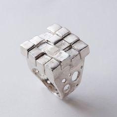 Soar, Limited edition avant garde sterling silver ring