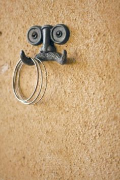 """Cast Iron Mustache Wall Hook - 3.5"""" x 2.5"""" by Spacepositive, http://www.amazon.com/dp/B007BTTR4S/ref=cm_sw_r_pi_dp_FQfarb053MDB8"""