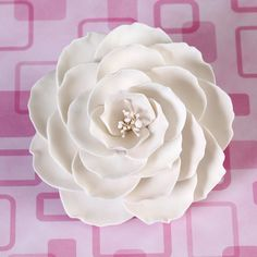 Large White Gumpaste Briar Rose handmade cake decoration.   CaljavaOnline.com