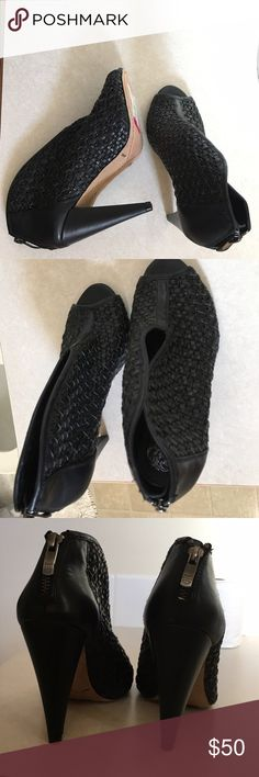 Black Vince Camuto Booties Never worn// Perforated Leather Booties Vince Camuto Shoes Heels
