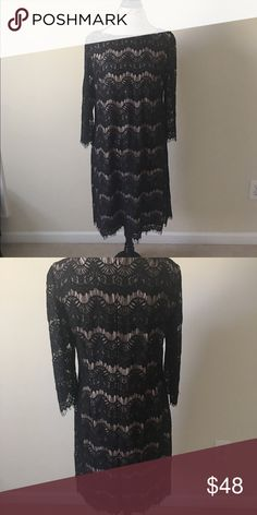 Jessica Howard Black Lace Dress Long Sleeve 12 Jessica Howard black lace overlay dress with 3/4 sleeves.  Sleeves are unlined.  Fringe designed bottom and arm cuffs.  Zipper back with clasp hook.  Size 12 Jessica Howard Dresses Midi