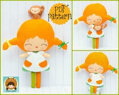 PDF pattern. Pippi and her monkey. Doll pattern.