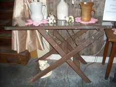 Great Adjustable Sofa Table made from a Vintage Wallpaper Ladder with a removable Glass Top.  Located at the Scranton's Shops $105.00 Ladder, Entryway Tables, Shops, Antiques, Wallpaper, Wood, Glass, Furniture, Vintage