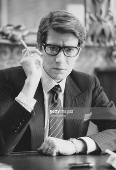 French fashion designer Yves Saint Laurent (1936 - 2008) in the office of his Paris studio, January 1982.
