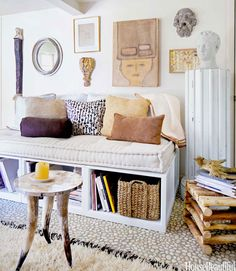 I like this idea! Maybe as a window seat? Daybed Storage - How to Make the Most of a Small Space - House Beautiful