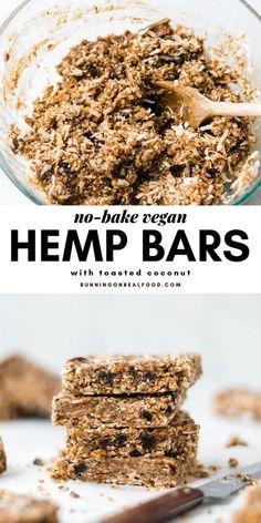 Coconut Bars Vegan Energy Bars - just 4 ingredients needed!Vegan Energy Bars - just 4 ingredients needed! Healthy Bars, Healthy Vegan Snacks, Vegan Sweets, Paleo Bars, Healthy Lunches, Healthy Breakfasts, Eating Healthy, Hemp Seed Recipes, Raw Food Recipes