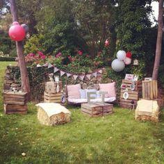 rustic outdoor wooden crates wedding photobooth