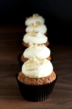 Carrot Cupcakes with Lemon Cream Cheese Icing | Vanilla And Bean.com