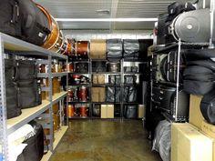 percussion instrument shelving - Google Search Trailer Shelving, Trailer Storage, Music Room Organization, Band Rooms, Drum Cases, Drums Studio, Drum Shop, Oil Drum, Room Shelves