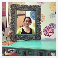 Pretty as a picture! My awesome studio assistant Valeria :) #stencilprojects #chalkpaint