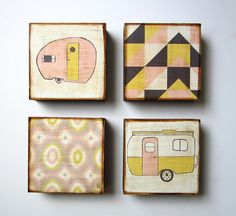Art Block Set l Modern Traveler 4 5x5 wood block by redtilestudio, $108.00