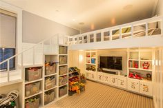 kids room with amazing storage and loft bed