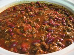 Linda's Prize Winning Chili Recipe This chili won place in a chili cook-off when I worked at the telephone company. It is my own original recipe and one I am very proud to share! This is a big batch of chili and fills a quart crock pot. Best Chili Recipe, Chilli Recipes, Mexican Food Recipes, Crockpot Recipes, Soup Recipes, Tex Mex Chili Recipe, Best Southern Chili Recipe, Recipe For Homemade Chili, Recipies