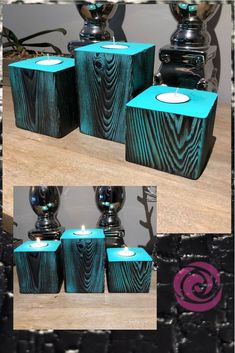 Wood Tea Light Holders in Turquoise Shou Sugi Ban / Burnt Wood ✨Tea Light Holders in Turquoise 🔥Shou Sugi Ban / Burnt Wood🔥 and sizes shown here. Rustic to the core, these stunning pieces will certainly add that splash of colour you were looking for! Scrap Wood Projects, Woodworking Projects Diy, Wood Tea Light Holder, Candle Craft, Wooden Candle Holders, Diy Candles, Wood Art, Wood Crafts, Tea Lights