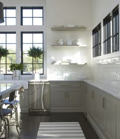 Kitchen: floating shelves, oyster grey cabinets