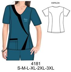 Delantales Scrubs Outfit, Scrubs Uniform, Medical Uniforms, Work Uniforms, Dress Sewing Patterns, Clothing Patterns, Uniform Design, Medical Scrubs, Diy Clothes