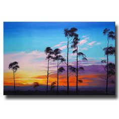 LARGE SUNSET Oil PAINTING commissioned  Fine Art Trees Landscape by Graham Gercken on Etsy, $279.00
