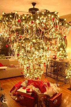 Upside down Christmas Tree - Interesting. More room for gifts!