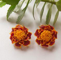Marigold earrings floral jewelry flower by SelenaJewelryBijou