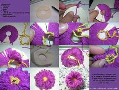 Made in a similar way to a pom pom, this flower looks more like a loom flower Yarn Flowers, Diy Flowers, Crochet Flowers, Burlap Flowers, Handmade Flowers, Paper Flowers, Crochet Diagram, Crochet Motif, Crochet Patterns