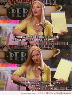 Phoebe Buffay! Of the most hilarious TV characters ever!