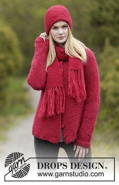 """Merry and Bright Set - Sweter rozpinany DROPS ściegiem francuskim i dżersejem, przerabiany 2 nitkami włóczki """"Brushed Alpaca Silk"""", czapka i szalik ściegiem francuskim 1 nitką włóczki """"Brushed Alpaca Silk"""". Od S do XXXL - Free pattern by DROPS Design"""