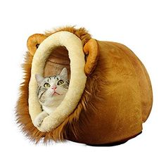Geekercity Lion Shaped Cute Warm Plush Pet Dog Cat Bed House Condo Cave with Removable Cushion Inside XXL >>> Want additional info? Click on the image.
