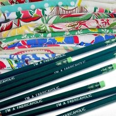 """""""I'm a Fabricaholic"""" pencil from Emma Makes. Stationery, Pencil, Pretty, How To Make, Stationeries, Stationery Shop, Paper Mill, Office Supplies"""