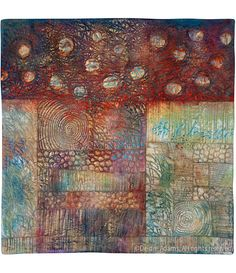 Composition X by Deidre Adams Quilted, free motion then painted.